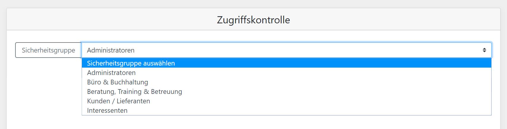 Screenshot Zugriffskontrolle