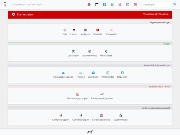 Screenshot Menü Stammdaten