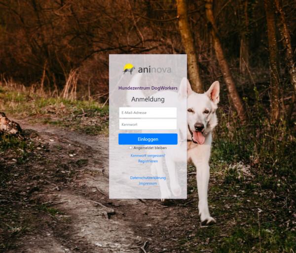 Loginmaske der Software für Hundeschulen