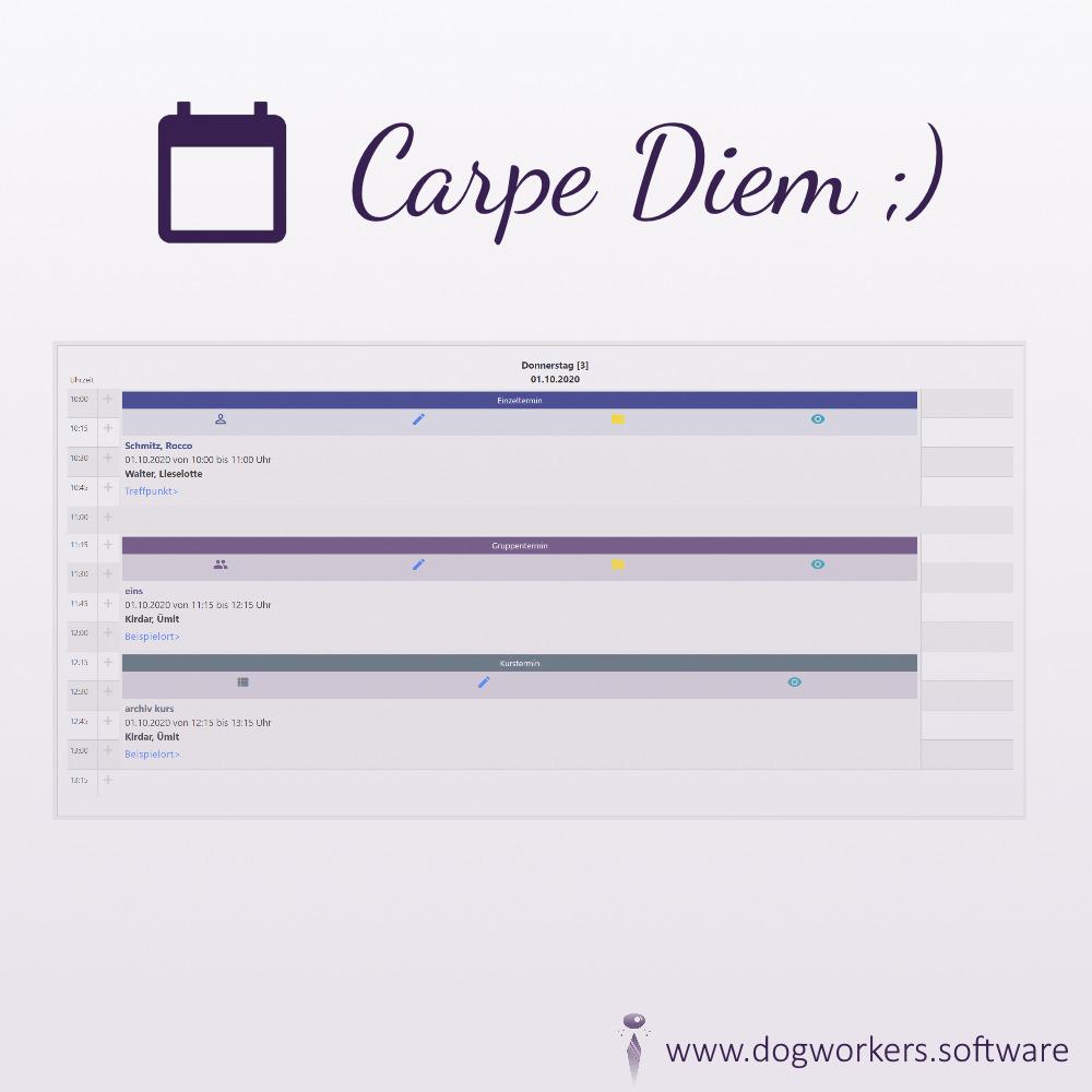 Der Tageskalender für den Verwaltungsbereich